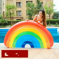 outdoor play mats 2018 - Inflatable Floating Mat Summer Swimming Circle Beach Sunnylife Rainbow Semicircle PVC Thickening Waterproof Outdoor Play Hot Sale 60yt V