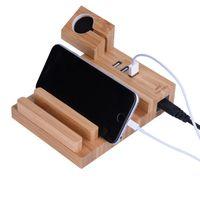 держатель зарядного устройства для планшета оптовых-Портативный древесины зарядки док-станция 3 USB зарядное устройство держатель стенд крепление для iWatch для iPhone смартфонов, таблетки универсальный