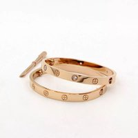 Wholesale bracelets brands - AAA quality luxury brand classic style 18k gold plated 316L stainless steel screw bangle bracelet with screwdriver for women and men gift