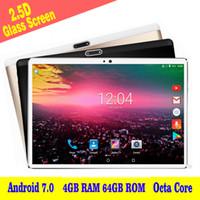 cámara de gafas de 4 gb al por mayor-2018 Nuevo 2.5D Glass 10 pulgadas Octa Core 3G Llamada telefónica Tableta 4GB RAM 64GB ROM 1280 * 800 IPS 5.0MP Cámara dual Android 7.0 Tablet 10