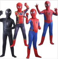ingrosso vestito nero dello spiderman dei capretti-Spider Man Cosplay Costume Costumi di Halloween per Boy Girl Black Superhero Fancy Kids e adulto spiderman vestito homecoming