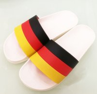 Wholesale Fashion World Shoes - Bestselling Sandals Slide World Cup Germany France Slippers Causal Shoes Stripe Design Huaraches Flip Flops Loafers Scuffs