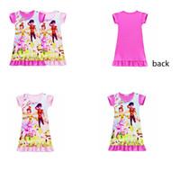 Wholesale cartoon pajamas pink - 2colors Girls mia and me Unicorn princess dress Children Medium Length Skirt cartoon short sleeves Pajamas dresses Kids clothes GGA650 12pcs
