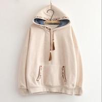 Wholesale vintage hooded sweatshirts - 2 Colors --Arrow Embroidery Tassel Hooded Thickening Sweatshirt Mori Girl Vintage Pullover luxury hoodie