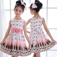 Wholesale Yellow Princess Dresses For Sale - Hot sale children gifts kids girls bow peacock dress ninth pants leggings for party dress baby girls dot princess dress