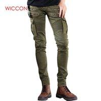 b1f070065ed8b Pantalon denim vert noir Jeans Biker Mens Skinny 2018 Runway Distressed  jeans élastiques slim hiphop Pantalon délavé pour homme 28-42