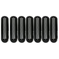 peças de jipe venda por atacado-Para Jeep Wrangler JK Acessórios Black Front Grelha Grelha De Malha Insert Para Jeep Wrangler Rubicon Sahara Jk Peças 2007-2017 7 PC