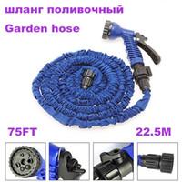 rollenschläuche großhandel-75FT Gartenschlauchbewässerung Bewässerungswasserleitungen mit Spritzpistole erweiterbarer Wasserschlauch Gartenschlauchaufroller Typ EU / US