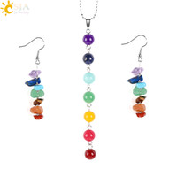 Wholesale Gems Jade - CSJA 7 Chakras Yoga Women Jewelry Sets Healing Reiki Rainbow Chips Earrings Necklaces Pendants Natural Gem Stone Mala Beads E702