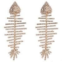 ingrosso orecchini ossi per le donne-lunghi orecchini a goccia nappa per le donne di lusso boho personalità strass orecchini pendenti semplici gioielli di moda vintage osso di pesce all'ingrosso
