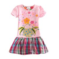 Wholesale Nova Kids Clothes - Baby girl dresses brand new cartoon summer cotton child dress girl's wear nova kid clothes children flower dress H5236