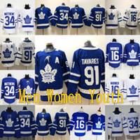 camisa de folha de bordo dos miúdos venda por atacado-91 John Tavares Assistente De Um Remendo De Toronto Maple Leafs Mitch 16 Marner 34 Auston Matthews Camisa De Hóquei Das Mulheres Dos Homens Juventude Crianças Dupla Costurado