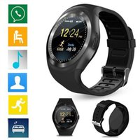 Wholesale mp3 watch phone - Y1 Smartwatch Bluetooth Smart Watch Reloj Relogio 2G GSM SIM App Sync Mp3 for Apple iPhone Xiaomi Android Phones PK DZ09