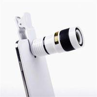 handys optische zoom-kameras großhandel-Long Focus Zoom Kameraobjektiv Weit weg High Definition Dark Angle Unniversal Optical Handy Len External mit acht mal Spiegel 9gf ff