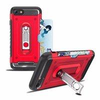 ranura tarjeta de plástico al por mayor-Defender Kickstand Funda híbrida para Iphone XR XS MAX X 8 7 6 Plástico duro + TPU 2 en 1 Armadura de la cubierta a prueba de golpes + Ranura para tarjeta de ID Caja de bolsillo