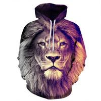 Wholesale lion plush online - Fashion Unisex plush Lovers Spring Sweatshirts Male Lion D digital printing thin Hoodie General Loose type Baseball jackets Plus size