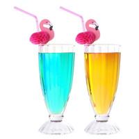 гибкая пластмассовая солома оптовых-Симпатичные 3D фламинго соломы гибкие одноразовые пластиковые соломинки для питья день рождения свадьба душа ребенка бассейн партии декор поставки