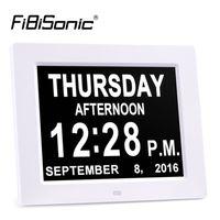 часы календарного дня оптовых-Оптовая продажа-очень большой 8 дюймов без сокращений DayMonth цифровой календарь будильники с 5 сигнализации нарушения зрения и пожилых людей Настольные часы