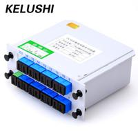 conector de bifurcación al por mayor-KELUSHI Fiber Branching Device Divisor Óptico 1x16 Box Cassette Inserting PLC Splitter SC Connector Fibre Optical PLC