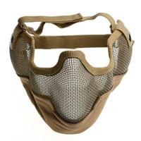 ingrosso maschere tattiche di metallo-Airsoft Mask CS Gioco maschera protettiva generico Tactical Guard Mesh metallo Mezza maschera viso Halloween puntelli- Fango colore