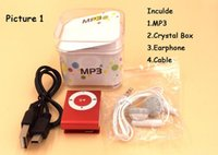 mini-mp3-player kopfhörer großhandel-Großhandel mini clip mp3-player fabrik preis kommen mit kristall box kopfhörer usb-kabel unterstützung tf-karte micor sd karte