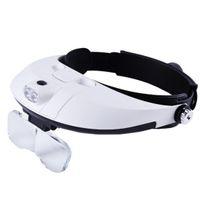 Wholesale Led Headband Magnifiers - Iguardor Head-mounted Magnifier Headband Magnifying Glass with LED Light for Reading Jewelry Authentication - White