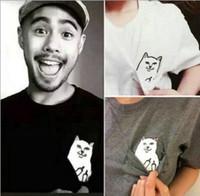 ropa de moda de gato al por mayor-Camiseta de verano Moda Gato divertido Hombres bolsillo Gato Camisetas Hip Hop Ropa casual Camiseta de manga corta Hombre suelta Tops