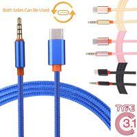örgülü kulaklıklar toptan satış-USB 3.1 Tip-C 3.5mm Kulaklık Örgülü Araba Stereo AUX Ses Kablosu Kablosu Adaptörü