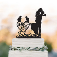 Wholesale cake toppers for sale - Group buy Cat Personalized Wedding Cake topper groom lifting bride with mr and mrs cake topper custom wedding heart decor topper