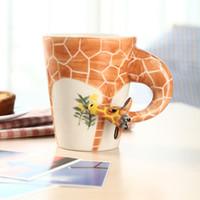 café macaco venda por atacado-Caneca da forma do animal 3D caneca de chá de leite café Mão pintada caneca Festival presente Cerâmica Veados Girafa Vaca Macaco copo