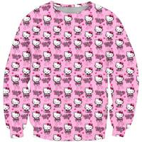 привет котенок мужчины оптовых-Анти-Samely мода мужчины толстовка 3D Hello Kitty печати простой повседневная белый relaxtion негабаритных одежда Бесплатная доставка