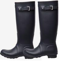 kadınlar için yüksek lastik çizmeler toptan satış-Diz Yüksek Tall Yağmur Çizmeleri Rainboots Su Geçirmez Botlar Ayakkabı Kauçuk Mat Parlak Rainboots Rainshoes Erkekler Kadınlar Için Fit Uzun Çorap