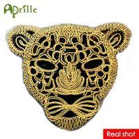 Wholesale sew motifs for clothes resale online - New Large Black Leopard Head Sequin Patch DIY Clothes Patches for Clothing Sew on Clothes Embroidered Tiger Motif Beaded Applique Craft