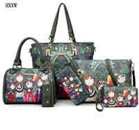 Wholesale Images Leather - NEW Fashion Dark Green Forest Cartoon Image Printing Retro Shoulder Bag Women Leather Messenger Tote Bags Handbag Woman 6 sets