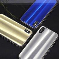 ingrosso lastre di vetro iphone-Custodia per cellulare in vetro placcato Aurora di lusso per iPhone X 7 8 Plus 6 6s Plus Cover protettiva in vetro temperato lucido laser per moda
