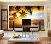 красивые обои природа оптовых-Юго-Восточная Азия Стиль Красивый Закат Пляж Природа Пейзаж Фото Настенная Роспись Обои Кафе Столовая Тема Отель Обои