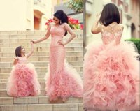 Wholesale layered wedding dress bow resale online - 2018 cheap gorgeous custom made cute pink flower girls dresses for weddings tulle ruffles layered lace girls party princess pageant dresses
