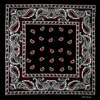 bufanda roja de algodón al por mayor-Algodón Negro Parte inferior roja Paisley Bandana Multiusos Hip-hop Unisex Bandanas Bandas para el cabello Sola cara Envolver la cabeza Bufanda Bufandas