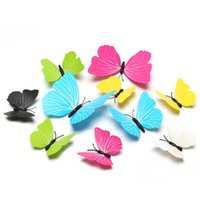 Wholesale Bathroom Wall Colors - Fansy 7cm 9cm 12cm Single Layer Wings Butterflies 3D Cinderella Butterfly 6 Pure Colors Removable Wall Stickers