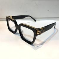 лазерные очки оптовых-Luxury MILLIONAIRE Explain M96006WN Очки Ретро Винтаж Мужчины Дизайн Оптические Очки Блестящий Золотой Летний Стиль Лазерная Логотип Позолоченный Топ