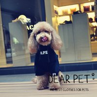 Wholesale hooded coat small resale online - Dog Hooded Hoodies Clothes Black Fashion Brand Pet Letter Clothing Teddy Puppy Hoodie Winter Warm Apparel S XL AAA1036