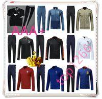 Wholesale Short Jackets Men - Real Madrid Spain soccer jacket tracksuit FrAnCe 2018 2019 France football jackets kits mens 17 18 19 DYBALA HAZARD tracksuit Sweatshirt