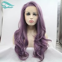 Wholesale purple cosplay wigs - Bythairshop Long Body Wave Purple Color Synthetic Lace Front Wig Half Hand Tied Bouncy Heat Resistant Fiber Hair Cosplay Wig