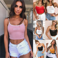 Wholesale basic crop tank top - Women's Tanks Camis Casual Polyester 7colors camisole crop top Women summer sleeveless camis tank top Basic backless slim beach Embroidery