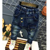 garoto jeans legal venda por atacado-1-7Yrs Bebê Meninos Meninas Calças de Brim Novas Crianças Outono Calças Legal Meninos Calças Casuais Moda Crianças Jeans Para Crianças Roupas