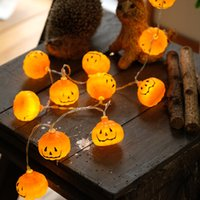 haciendo baterias al por mayor-Led Diy String Halloween Light Pumpkin Forma Color Holiday Lights Hecho a mano Decorar Plastic Lamp Battery Design 6 5md jj