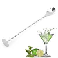cucharas de bar al por mayor-DHL Bar Swizzle Stick Acero Inoxidable Agitadores Roscados Cuchara Cóctel Mezclador de vino Barware bar herramientas para fiestas