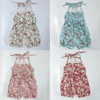 Wholesale Yan Wholesale - Vieeolove Baby Pretty Girls Floral Playsuit 2018 New Summer Lace One-piece Kids Baby Romper Shorts Lace Clothes YAN-137