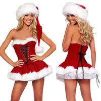 traje cosplay saia vermelho venda por atacado-Trajes de natal papai noel para adultos sexy red velvet saia de pele branca lace up dress roupas de natal cosplay traje mulher