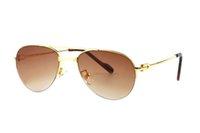 plastique de pont achat en gros de-2018 Nouvelles femmes lunettes de soleil ovales Vendant récemment la nouvelle lentille en plastique à double armature en métal doré avec boîte d'origine.